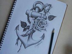 anchor, cute, drawing, rose, @gaiabondielli