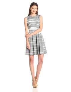 Striped Belted Fit-and-Flare Dress by Calvin Klein