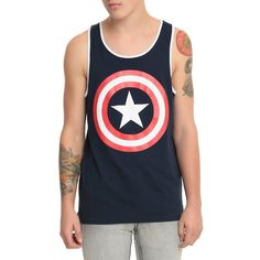 Marvel Captain America Logo Tank Top Hot Topic ❤ liked on Polyvore featuring tops, logo tank, logo tank tops and logo tops