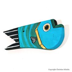 Barn Wood Fish Decor Handmade Painted Blue Folk Art by TaylorArts