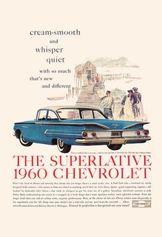 VINTAGE CAR AD Retro Car Ad 1960 Chevrolet by EncorePrintSociety