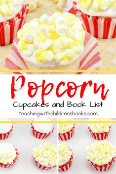 Whip up a batch of these popcorn cupcakes to much on while you read one or two popcorn themed books for kids! Perfect for class parties! Popcorn Cupcakes, Kid Cupcakes, Themed Cupcakes, Toddler Friendly Meals, Toddler Meals, Fun Crafts For Kids, Craft Activities For Kids, Cooking With Kids, Fun Cooking