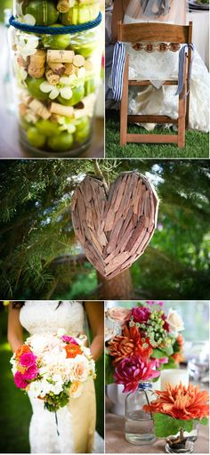This whole wedding, particularly the wine corks+limes+flowers in vases for decoration/table setting