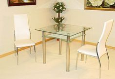 Jazo Clear Glass Dining Table with 2 Lazio Chrome Chairs