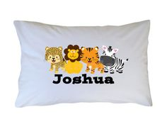 Jungle Animals Personalized Pillow Case www.cutiepatootiecreations.com