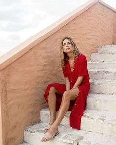Red button up dress vacation outfits Madewell