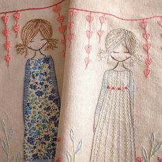 This whimsical girl standing under heart bunting in her garden is a hand embroidery pattern. There are instructions for two versions of the girl, the first with an embroidered dress and the second with an appliqued dress. There is now an additional colour guide for the pink version The finished embroidery is about 21cm x 12.5cm (about 8 x 5) but you can enlarge the pattern or make it smaller by using a photocopier.  There are quite detailed instructions in the pattern and lots of photos…