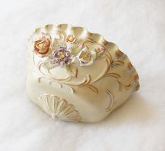 Shabby Chic Cottage Decor | Shabby Chic/ Cottage Decor Handpainted White and Gold Wall Pocket with ...