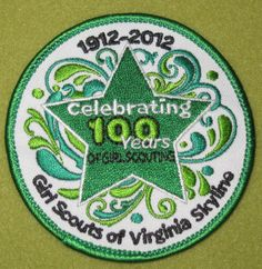 Girl Scouts Virginia Skyline Council 100th Anniversary patch. Thank you Bridget!