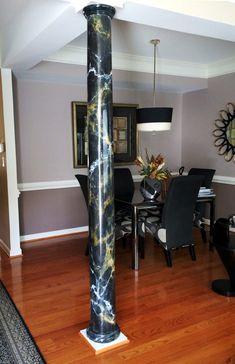 Venetian Plaster Marble on Columns Marble Pillar, Marble Columns, Marble Floor, Columns Decor, Interior Columns, Interior Design, Living Room Ideas Studio, Living Room Designs, Floor Design