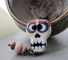 Glass Necklace Pendant Necklace Skull Pendant Ivory by fiveforty Enamel Jewelry, Copper Jewelry, Glass Jewelry, Glass Beads, Skull Necklace, Glass Necklace, Pendant Necklace, Beads Pictures, Blown Glass Art