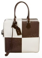 Louis Vuitton White and Brown Sequin Optic Cuir GM Runway Handbag P13 NEW