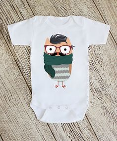 Look at this #zulilyfind! White Owl with Glasses Bodysuit - Infant #zulilyfinds