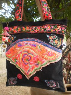 Tribal  Hmong Bag Made With Upcycled Hmong  Hilltribe Vintage Textile