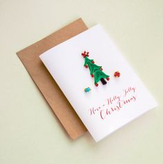 Holly Jolly Christmas Card  Quilling Christmas by ofthingspretty
