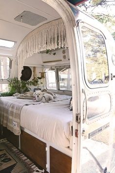 """The Mini and Marvelous Mavis the Airstream The Mini and Marvelous Mavis the Airstream,Wohnmobil Camper """"My husband and I have always been fascinated by tiny living and both share a deep love for travel. Van Living, Tiny House Living, Living Room, Living In A Bus, Kombi Home, Van Home, Never Settle, Remodeled Campers, Tiny House On Wheels"""