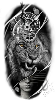 stairway to the end of time : stairway to the end of time - - Lion Head Tattoos, Tiger Tattoo, Skull Tattoos, Lion Arm Tattoo, Clock Tattoo Design, Lion Tattoo Design, Tattoo Sleeve Designs, Clock Tattoo Sleeve, Full Sleeve Tattoo Design