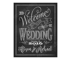 WELCOME TO OUR WEDDING CHALKBOARD wedding printable High Resolution Printable File Design Style: C1 WELC Color: White *Other colors