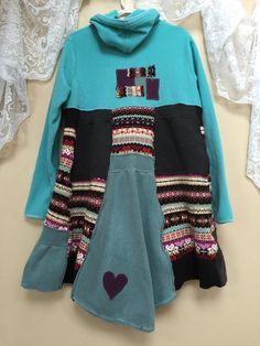 Upcycled Colorful Patchwork Boho Hoodie by SimplyCathrineAnn
