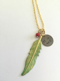 It Is Well feather necklace, boho chic, inspirational jewelry, faith, it is well with my soul by JustStampItGifts on Etsy https://www.etsy.com/listing/386875054/it-is-well-feather-necklace-boho-chic