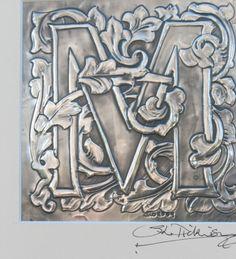 Foto de monograma inicial letra M en peltre por ARCHIVES en Etsy