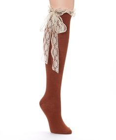 Another great find on #zulily! Brown Lace Bow Knee-High Socks #zulilyfinds