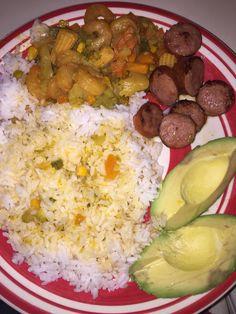 White rice. Shrimp with Asian stirfry veggies. Sliced smoked sausages with avocado