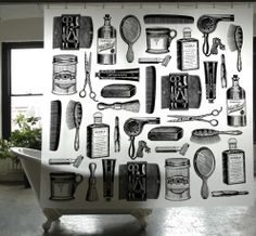 PEVA Barbershop Shower Curtain design by Izola Pop Art Bilder, Image Deco, Rockett St George, Oldschool, Burke Decor, Deco Design, Retro, Shopping, Shower Curtains