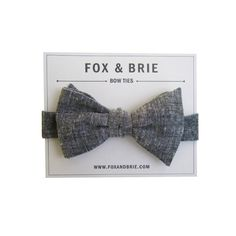Charcoal Chambray Bow Tie by FoxandBrie on Etsy, $45.00