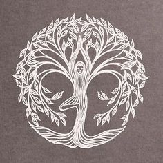 """Yoga tree pose design - would make a beautiful tattoo! I'd add the Hebrew words """"this too shall pass"""". 