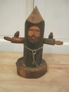 BEN ORTEGA St Francis Wooden Figure Signed