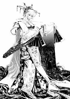 Kami-Kaze Hime V2 line art by ComiPa