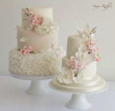 Cherry Blossom Wedding Cakes by Sugar Ruffles Cakes Small Wedding Cakes, Elegant Wedding Cakes, Beautiful Wedding Cakes, Gorgeous Cakes, Wedding Cake Designs, Pretty Cakes, Perfect Wedding, Elegant Cakes, Spring Wedding Cakes