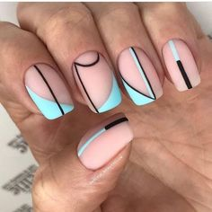 Discover new and inspirational nail art for your short nail designs. Simple Nail Art Designs, Short Nail Designs, Easy Nail Art, Simple Art, Line Nail Designs, Striped Nail Designs, Aycrlic Nails, Swag Nails, Hair And Nails