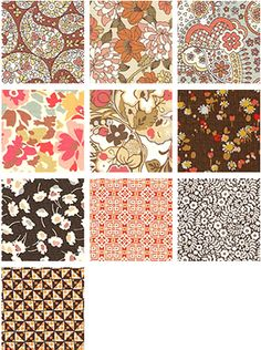 Liberty Lifestyle Bloomsbury Gardens Natural Brown ~ 10 Fat Quarter Pack (to make the madre a quilt)