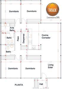 Plano de casa grande de 100m2 y 4 dormitorios planos for Planos de cocinas comedor y living