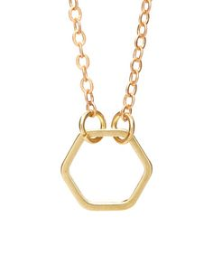 Love this Goldtone Hexagon Pendant Necklace on #zulily! #zulilyfinds