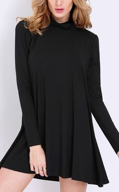 In love with this black pullover long sleeve casual dress. Summer is great, but loving this year's fall looks.