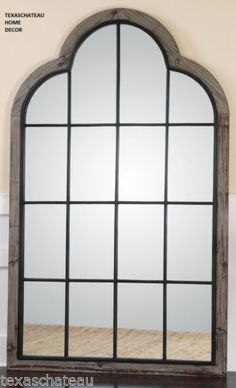 XL-LARGE-FRENCH-FARMHOUSE-GRAY-WOOD-IRON-ARCHED-MIRROR-WINDOW-WALL-WINDOWPANE