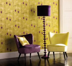 purple and chartreuse decor Baby Room Design, Wall Design, House Design, Interior Design, Luxury Interior, Interior Decorating, Decorating Ideas, Eclectic Living Room, Color Palettes