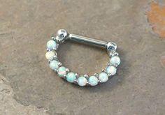 16 Gauge White Opal Daith Hoop Ring Daith Clicker