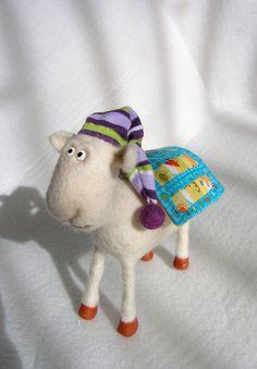 Artist Needle Felted Sheep Sculpture - Russel