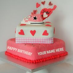 Write Name On Beautiful Pink Heart Birthday Cake Online