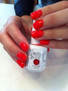 Nägel Gelish tiger blossom nails Wedding Favors: Important Things You Need To Know The history of we Gelish Nail Colours, Nails Gelish, Red Gel Nails, Glitter Accent Nails, Coral Nails, Love Nails, How To Do Nails, Pointy Nails, Red Orange Nails
