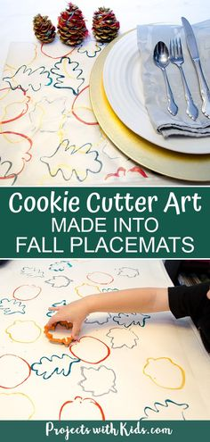 Cookie Cutter Art Made into Fall Placemats Use simple supplies to create this easy fall art project kids will love making! A perfect Thanksgiving craft to decorate your holiday table this year. Fall Arts And Crafts, Easy Fall Crafts, Fall Crafts For Kids, Kids Crafts, Holiday Crafts, Holiday Ideas, Fall Art Projects, Craft Projects For Kids, Craft Ideas