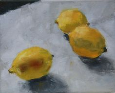 Three Lemons...first session, oil on canvas