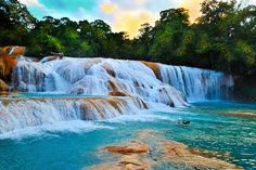 Agua Azul Waterfalls, Tumbalá, Chiapas, Mexico. Got to swim here while I was in Mexico... So beautiful and so stinkin cold! **Adrian**