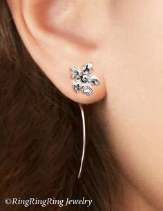 Saintpaulia flower earrings sterling silver von RingRingRing