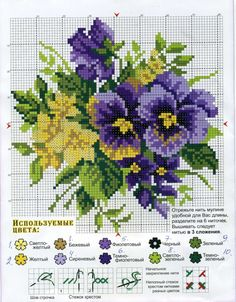 Great site for pansies. Cross Stitch Love, Cross Stitch Flowers, Cross Stitch Charts, Cross Stitch Designs, Cross Stitch Patterns, Ribbon Embroidery, Cross Stitch Embroidery, Embroidery Patterns, Pansies