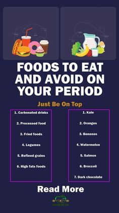 "FOODS TO EAT AND AVOID ON YOUR PERIOD The food that we eat in that period is also of huge importance for the skin care and maintaining clean skin. Here are the food that you can eat and also the foods that you should avoid in ""those days"". Period Cramp Relief, Period Cramps, Period Kit, Period Hacks, Food For Period, Health And Beauty Tips, Health Tips, Remedies For Menstrual Cramps, Pms Remedies"